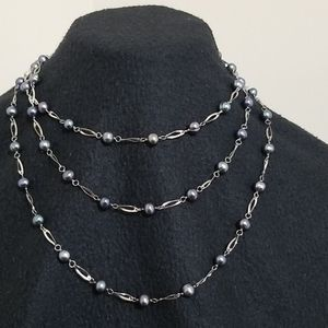 """Vintage 60"""" Tahitian Pearl and Silver Necklace"""